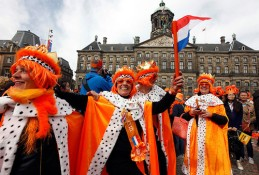 People celebrate the new Dutch King
